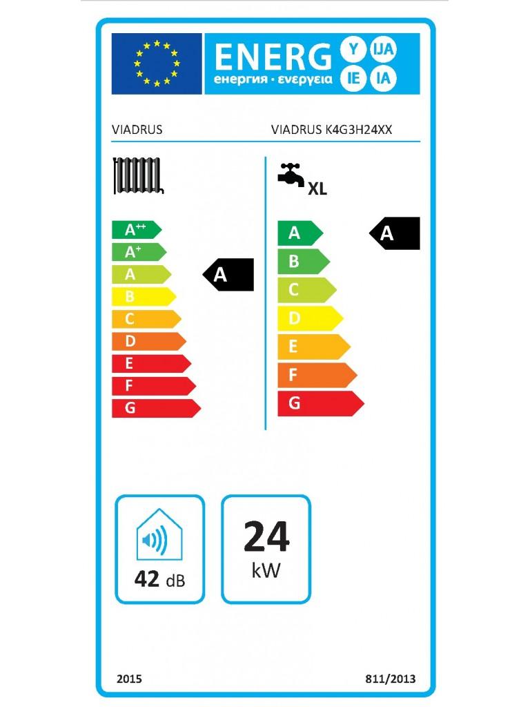 Viadrus K4 fali fütő kondenzációs gázkazán külső tárolós 24 KW(K4G3S24ZX)