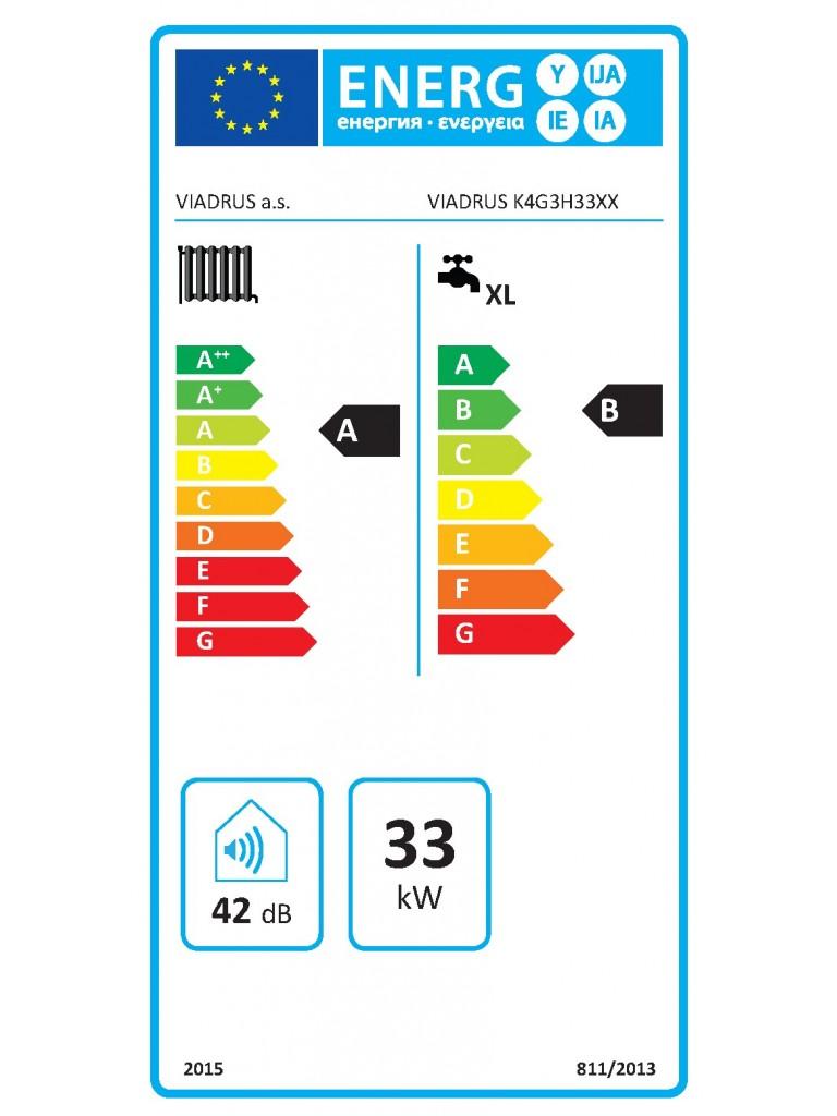 Viadrus K4 fali fütő kondenzációs gázkazán külső tárolós 33 KW(K4G3S33ZX)
