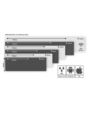 Adax Neo WiFi L elektromos konvektor 800W, fehér, alacsony kivitel