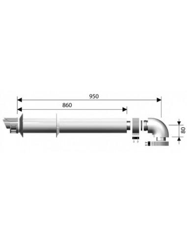 Radiant K szett vízszintes füstgázelvezető szett O60/100mm PPS/ALU
